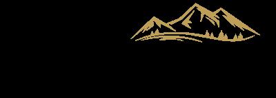 Fridolfinger Genussladerl in schwarzer Schrift mit braunen Bergen
